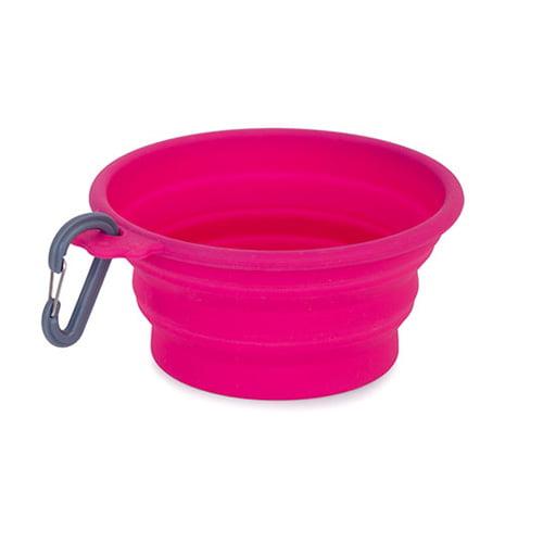 Reiseskål (sammenleggbar drikkeskål) i soft silikon. Rosa farge.
