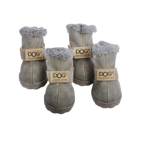 Produktfoto av 4 stk vinterstøvler til hund grågrønn