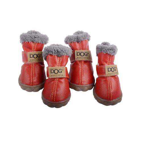 Produktfoto av 4 stk vinterstøvler til hund røde