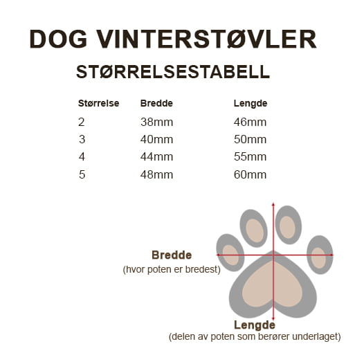 Størrelsestabell Dog vinerstøvler