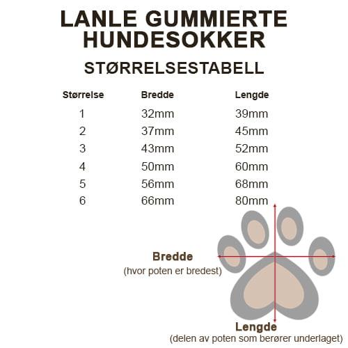 Størrelsestabell gummierte hundesokker