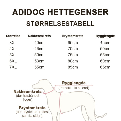 Størrelsestabell Adidog hettegenser