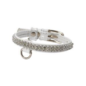 Produktfoto av Brilliance halsbånd til hund. Hvitt med bling.