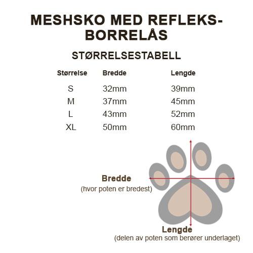 Størrelsestabell for meshsko.