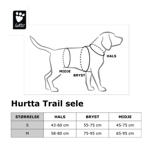 Størrelsestabell for Hurtta trail sele