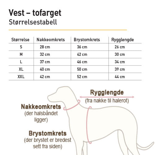 Størrelsestabell for vest - tofarget