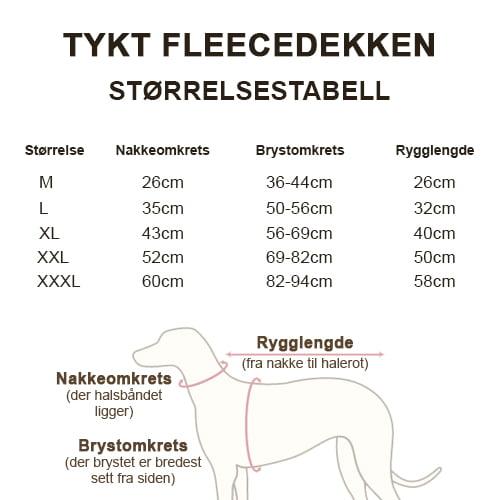 Størrelsestabell Produktfoto av tykt fleecedekken.